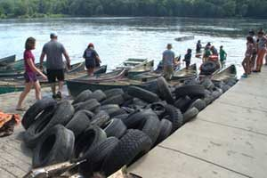 tires from the river